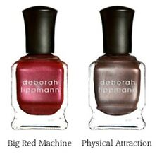 NEW LOT 2! DEBORAH LIPPMANN Nail Polish in BIG RED MACHINE & PHYSICAL ATTRACTION