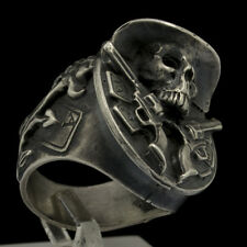 Sterling Silver Skull Ring Texas Cowboy Guns Outlaw Biker Skull Jewelry Sz11