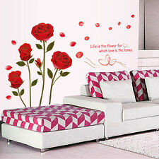 1pcs Red Rose Flower Wall Sticker Mural Decal Home Room Xmas Ornament
