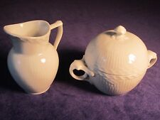 Royal Copenhagen~Denmark~White Half Lace~3 Items: Sugar Bowl/Lid/Creamer~Porcela