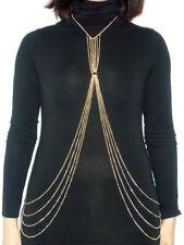 Collier harnais cage bijou de corps trikini chaines métal doré sexy burlesque