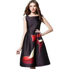 Women's Whimsical Spring and Summer Stiletto Shoe Print Dress 8 Free Shp