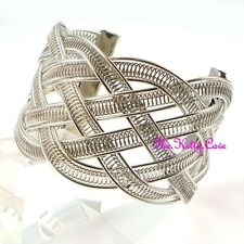 Debenhams Wide Vintage Silver Lattice Plaited Braided Woven Classy Bracelet Cuff
