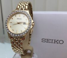 Seiko Ladies Gold Plated Watch RRP£250 Japan Movement Swarovski crystals New