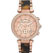New Michael Kors Parker Rose Gold Tortoise Chrono Womens Glitz Watch MK5538
