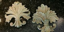 2 Fleur de Lis Wall Plaques Old World Tuscan Medieval French Country Cross Decor