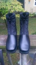 Womens Sz US10 Weatherproof Rain Snow Boots Erica Black Zip front Faux Fur lined