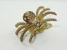 """LARGE CARA NY """"CRITTERS"""" PAVE SWAROVSKI CRYSTAL SPIDER STRETCH RING"""
