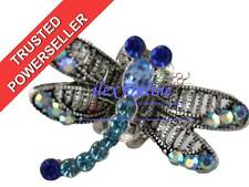ELEGANT TEAL / BLUE SPARKLY DRAGONFLY METAL HAIR CLAW / CLIP CLAMP *NEW/SEALED*