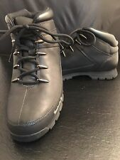 Boots Timberland Mens 9.5 M Eurosprint Black Shoes Mid Cut Hiking Lace Ankle