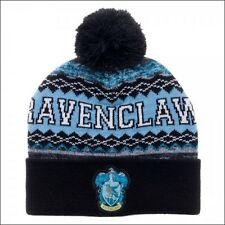 Harry Potter Ravenclaw Crest Fair Isle Roll Slouch Cuff Knit Pom Beanie Cap Hat