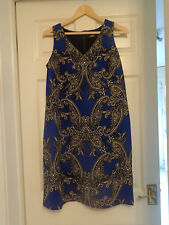 BRAND NEW WITH TAGS, WALLIS, SIZE 12, BLUE PAISLEY PATTERNED DRESS