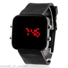 Unisex Red LED Jumbo Square Mirror Face Silicone Band Wrist Watch