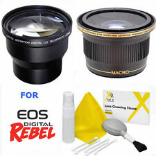 ZOOM LENS 3.6X + FISHEYE LENS X38 FOR CANON EOS REBEL 20D 40D 60D T5 T3 400D T6