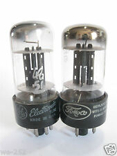 2 matched 1952 GE 6X5GT Rectifier tubes - TV7D tested @ 51/52, 48/51, min:40/40