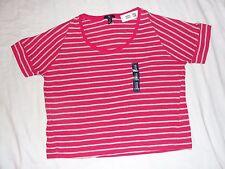Women's SZ M short sleeve pink + Gray stripe GAP top 100% cotton round neck