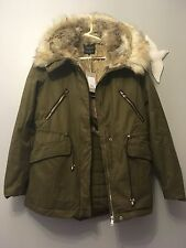 ZARA AW16 Khaki Parka Coat With Faux Fur Lining Large Hood Size XS Uk 6/8  Zara