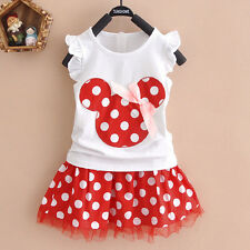 Kids Baby Girls Micky Minnie Mouse Party Tutu Dress Summer Pleated Skirt Clothes