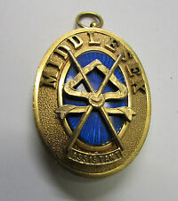 1955 PGSW 9kt Gilt and Enamel Oval Masonic Pendant ~ Middlessex, Eng;and