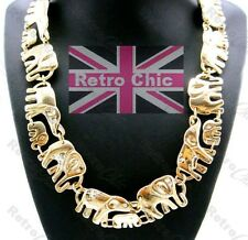 BIG GOLD FASHION NECKLACE chunky link ELEPHANT WALK vintage ANIMAL crystal CHAIN