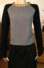 Gina Camarillo Cashmere Sweater Grey Black Yellow Sequins Long Sleeve Small Fab!