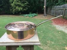 "French Copper 8.675"" Saute Pan Metaux Ouvres Vesoul Art et cuisine Made n France"