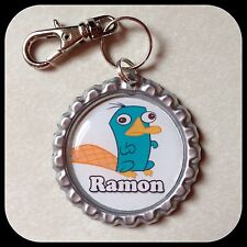 Personalized PERRY PLATYPUS  Bottle Cap Name Jewelry Zipper Pull Backpack ID Tag