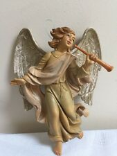 Vintage Made In Italy Gorgeous Angel With Wings Horn Ornament Manger Plastic 7.5
