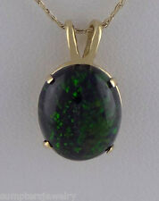 LADIES 14K YELLOW GOLD 12x10mm OVAL CABOCHON BLACK OPAL SOLITAIRE PENDANT CHARM