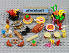 LEGO - 43 pcs Lot Minifigure Food Picnic BBQ Bread Hamburger Turkey Pizza Crab