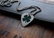 Hand Made Etched Nickel Silver Guitar Pick Necklace - Shamrock - 4 Leaf Clover