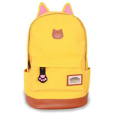 Women Girls Cute Cat Ear Canvas Backpack Rucksack Shoulder College SchoolBag