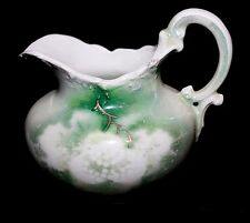 ANTIQUE Early 1900's Weimar Porcelain Creamer, Gold, Green on White GERMANY