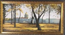 FRAMED OIL ON CANVAS PAINTING A GRAND BUILDING ON THE BANKS OF A RIVER