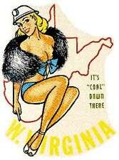 West Virginia  Pin Up   WV  Vintage 1950's-Style  Travel Decal  Sticker  Label