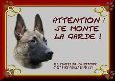 PLAQUE METAL ATTENTION AU CHIEN 20/30 CM BERGER MALINOIS 1