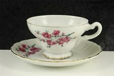 Vintage China Teacup Cup & Saucer Pink Cherry Blossom Pattern Made In Japan