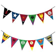 Superhero Banner Bunting Flag Room Decoration Party Supplies Logo Symbol