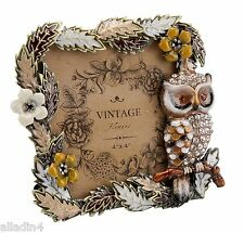 Enamelled and  Crystal Owl Photo / Picture Frame - Vintage Style - Birds - 4x4