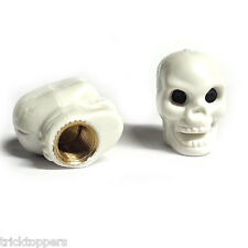 "2 White ""Skull"" Tire Valve Stem Caps for Harley Motorcycle Wheel Rims"