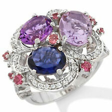 Graziela for Rarities 5.29ct Multigemstone Sterling Silver Cluster Ring $299 SZ7