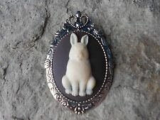 * 2 IN 1 BUNNY RABBIT CAMEO BROOCH / PIN / PENDANT - EASTER BUNNY - EASTER