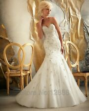 Strapless Sweetheart Mermaid Floor Length Beaded Lace Wedding Dress Bridal Gown
