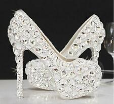 Women Crystal Platform Pebble Wedding Dress High Heel Bride Rhinstone Shoes