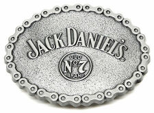 Jack Daniel`s Belt Buckle Old No.7 Brand Silver Oval Chain Officially Licensed