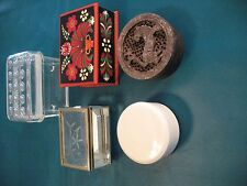 Vintage Lot of 5 Pill Boxes Trinket Jewelry Stone Brass Hungarian Glass Ceramic
