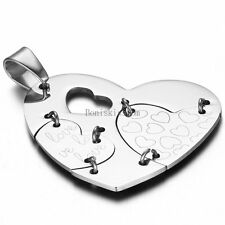 """Stainless Steel Hollow-out Love Sew Mend Heart Pendant Necklace With 22"""" Chain"""