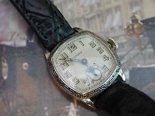 .SERVICED 1920`s BLACK ENAMEL BEZEL ART DECO GRUEN.... CUSHION CASE MEN`S WATCH