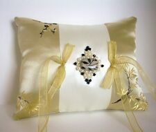 Gold, Ivory, Black Brocade Satin Ring Bearer Pillow Beaded Centerpiece, Handmade