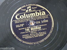 """78rpm 12"""" ISOBEL BAILLIE messiah : i know that my redeemer liveth DX 1036"""